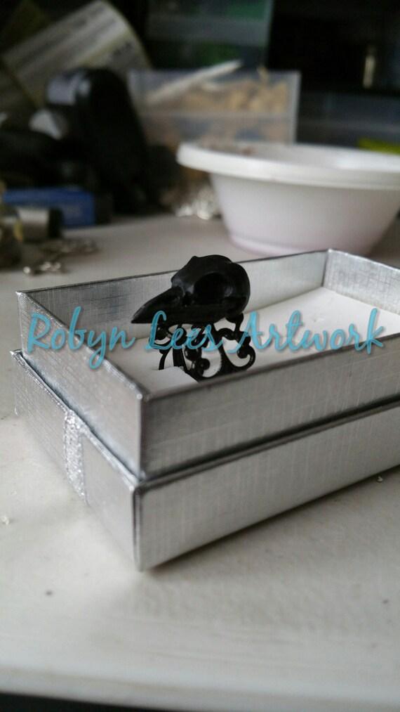 Black Resin Raven Crow Bird Skull Adjustable Black Filigree Etsy