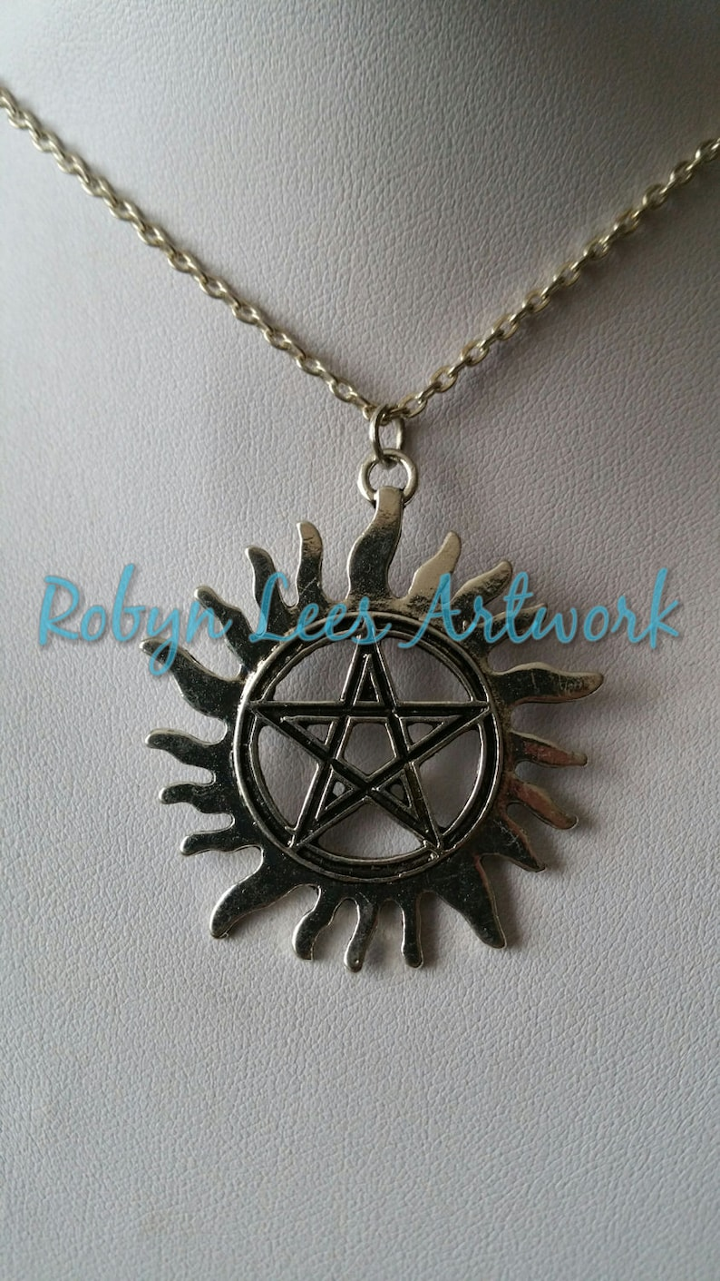 Costume Wiccan Pagan Large Silver Flaming Sun Pentagram Pentacle Necklace on Silver Crossed Chain or Black Faux Suede Cord Gothic