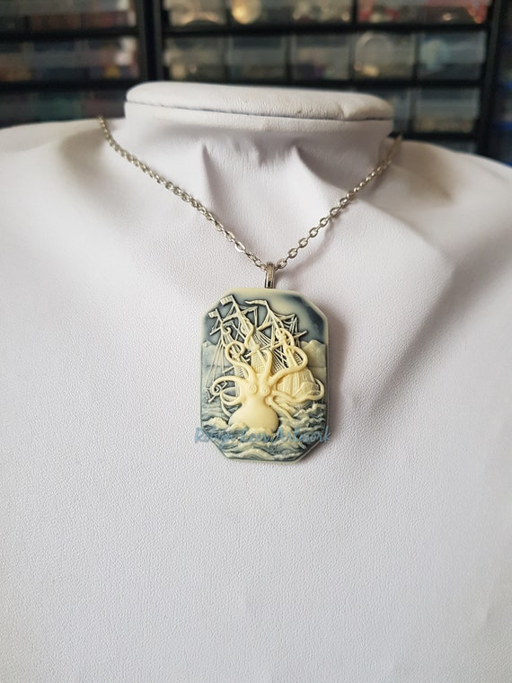 Octopus Necklace Kracken and Ship Cameo Necklace