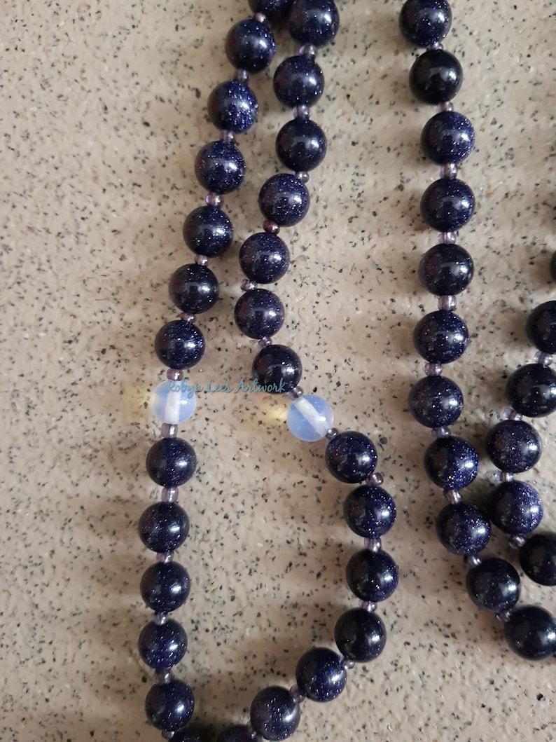 Blue Sandstone Goldstone /& Opalite Crystal Mala Beads Necklace Bracelet Yoga Japa Meditation Gothic Lunar Large Resin Wolf Dog Skull