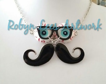 Geeky Horror Eyeballs, Laser Cut Black Glasses and Silver Enamel Moustache Necklace on Silver Chain
