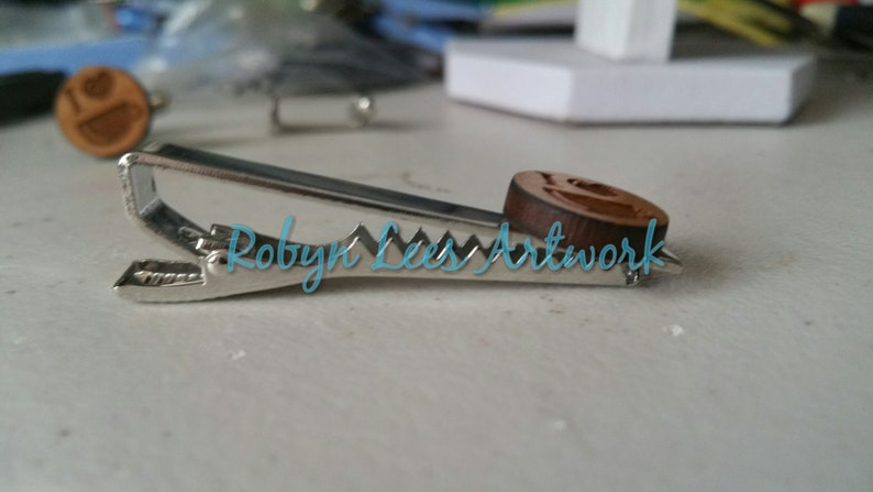 Wooden Engraved I Heart Coffee Silver Tie Clip