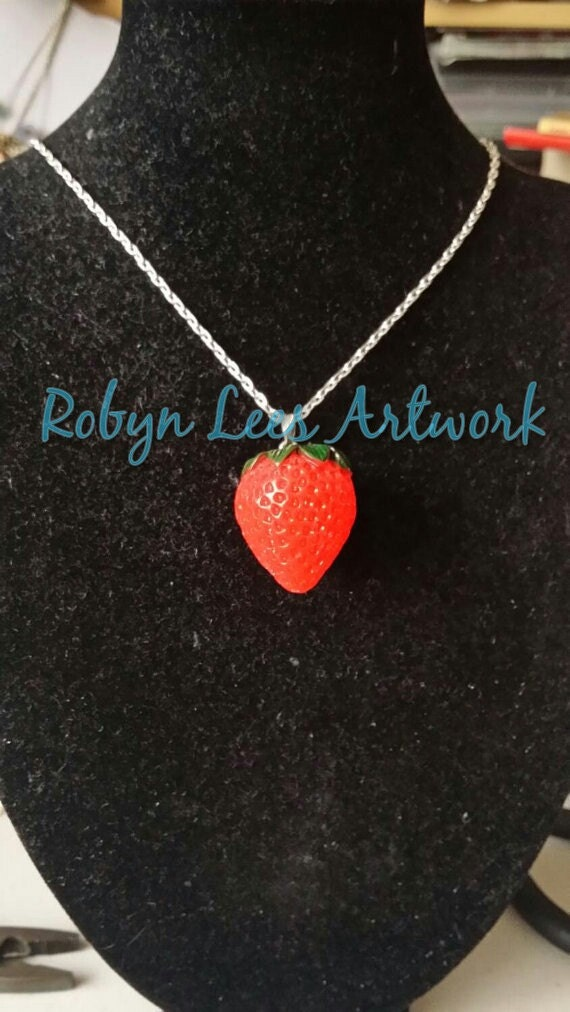 Resin necklace with cord rectangular with fruit