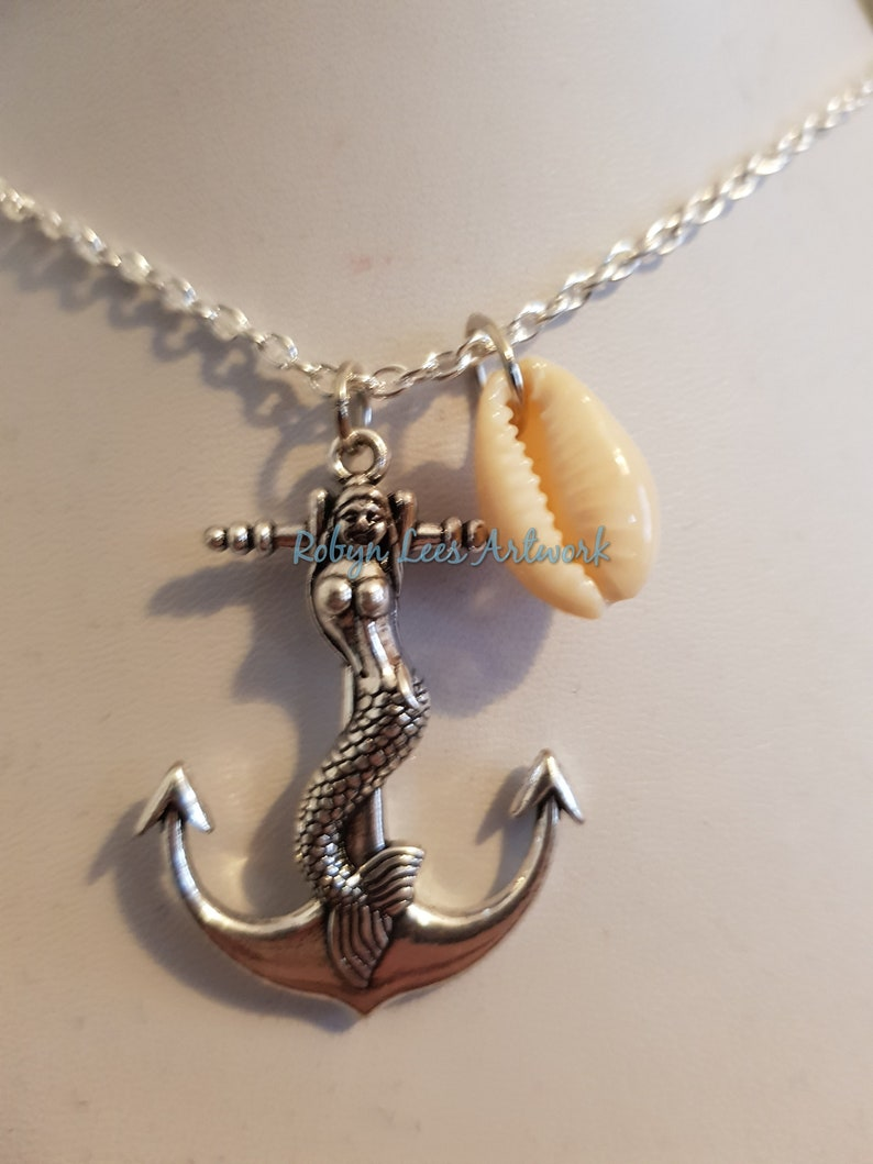 Nautical Silver Mermaid Anchor Pendant Necklace with a Small Real Seashell Shell on Silver Crossed Chain or Black Faux Suede Cord Sailor