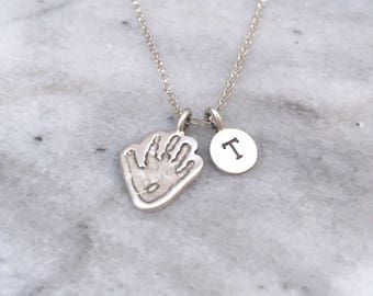 Baby Footprint Personalised Engraved Necklace - Footprint Jewellery, Handprint Jewellery, Silver Handprint Necklace, Footprint jewellery