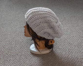 Crochet White Slouchy Beanie Hat, Women's Winter Hat