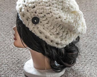 Crochet White Slouchy Hat, Women's Winter Hat