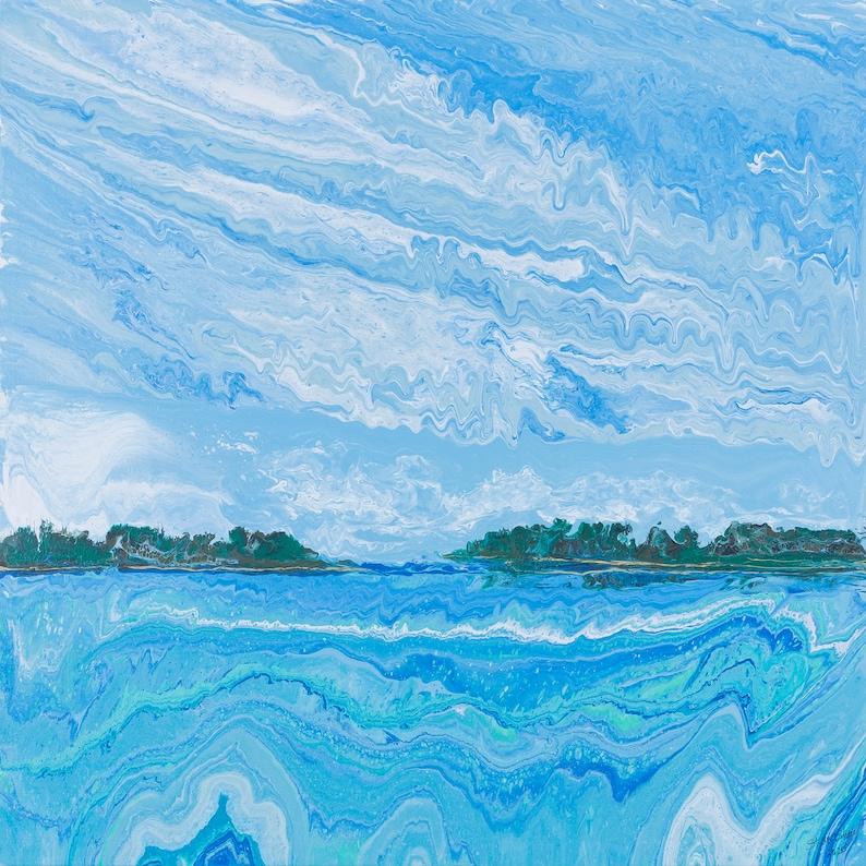 Calda Channel 34x34  Acrylic Poured Seascape image 0