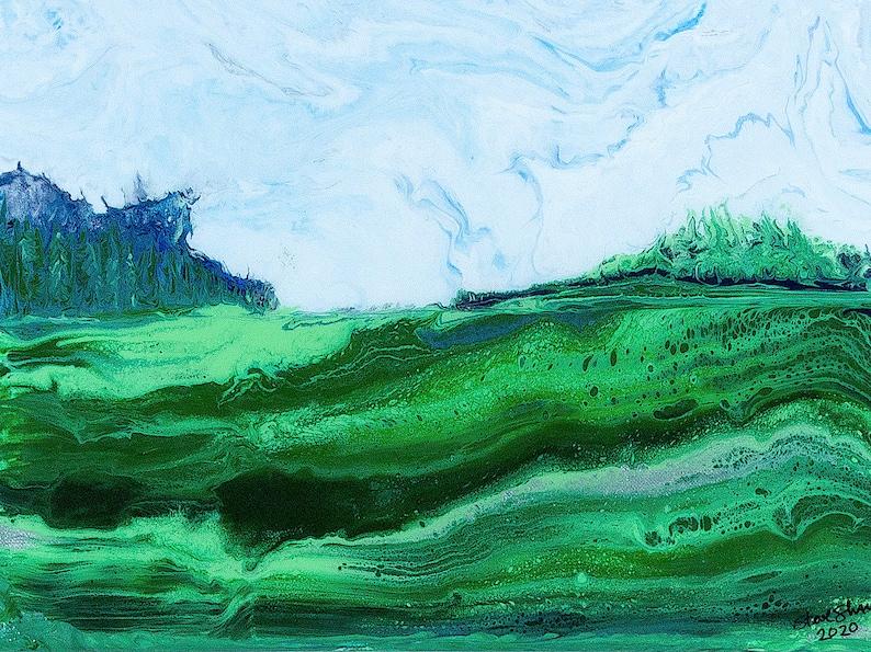 Learning Curve Landscape 12x16  Acrylic Poured Landscape image 0