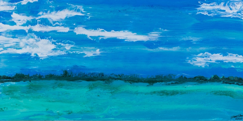 Snipes Point 15x30  Acrylic Poured Seascape image 0