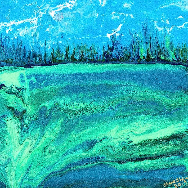 Landslide 14x14  Acrylic Poured Landscape image 0