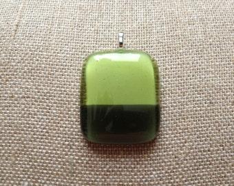 Lime/Dark Green Glass Pendant