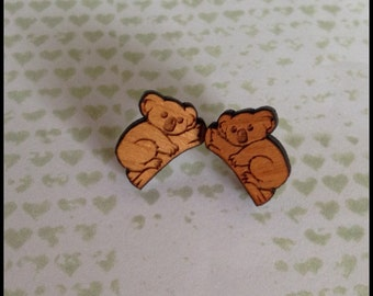 Wooden Koala Earrings - 1x pair of cherry wood earrings with koala bear design - 12mm wooden koala set on surgical steel post - Australia