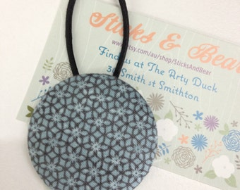 Vintage pattern 45mm covered button hairband - large size great for single ponytail - grey blue ponytailer  - hair tie - ponytail holder -