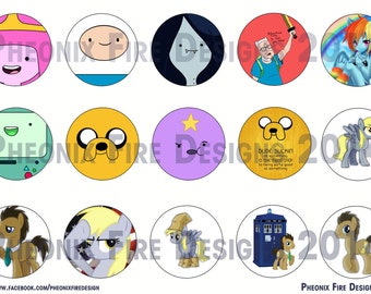 """Adventure Time Derpy and Dr Whooves 1"""" Bottle Cap Inspired"""