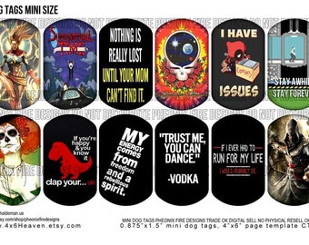Nerdy Mini Dog Tags (Supernatural, Ms Marvel, Asassins Creed, Quotes, Grateful Dead and Deadpool)