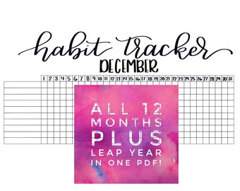 Monthly Habit Tracker (Full Year Included!)