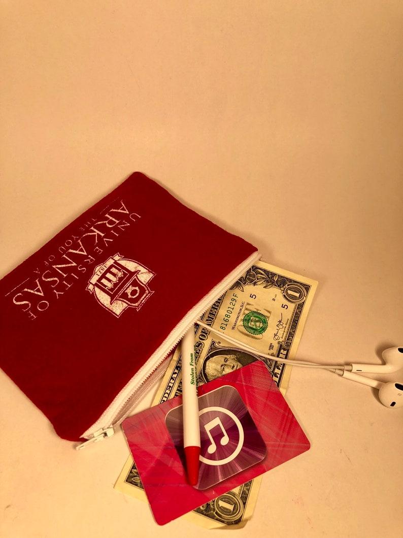 Razorbacks Coin Purse Zippered Pouch Epipen Case Pencil Case graduation gift University Arkansas Valentine/'s Day gift