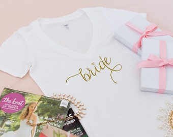Gold and White - Bride Shirt, Wifey Shirt, Bride to be, T-shirt, V-Neck, Gifts for Bride , Bridal Shower Gift, Bachelorette Party