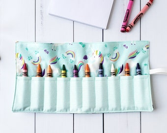Crayon Holder - Marker Roll Up Wallet - Kid's Craft Carrier - Party Favour - Travel Colouring Toy - Personalized Child's Gift - Crayon Kit