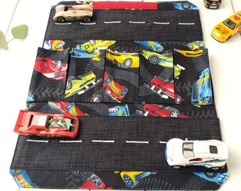 Race Car Toy Carrier - Fabric Wallet for Matchbox/Hotwheels - Personalised Gift for Boy/Child - Fold Up Car Carrier - Travel Road Play Mat