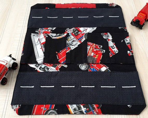 Fire Trucks Toy Carrier - Roll Up Toy Carrier