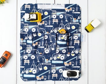 Toy Car Carrier - Construction Road Play Mat - Fabric Wallet for Hotwheel/Matchbox - Travel Activity - Pretend Play - Personalised Boy Gift