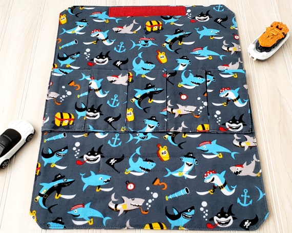 Toy Carrier with Road - Pirate Sharks - Toy Wallet