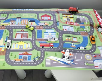 Car Play Mat - Fold Up Travel Road Activity - Matchbox/Hotwheel Toy Carrier - Boy Quilt - Quiet Play Personalised Gift for Child - Town Rug