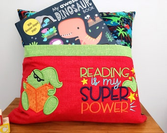Pocket Pillow - Reading Cushion - Book Pillow - Boy Dinosaur Theme - Travel Toy Holder - Gift for Child - Kids Room Decor - Embroidered