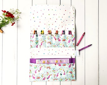 Crayon Holder - Travel Activity Carrier - Marker Fold Up Tote Bag - Art Craft Kit - Unicorn Child's Personalized Birthday Gift - Quiet Time