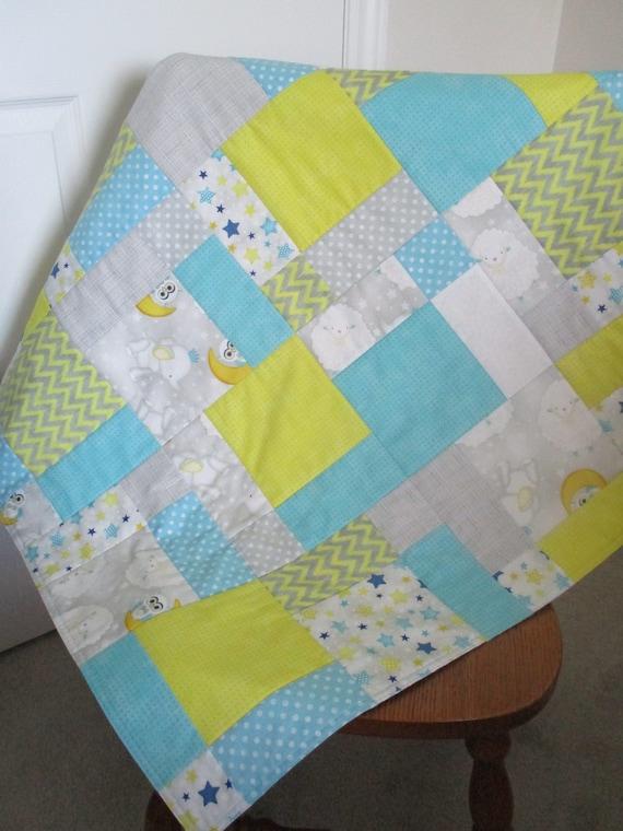 Patchwork Quilt - gris, Turquoise, jaune - enfant couette - lune ...