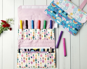 Crayon Holder - Travel Activity Carrier - Marker Fold Up Tote Bag - Art Craft Kit - Child's Personalized Birthday Gift - Creative Quiet Time