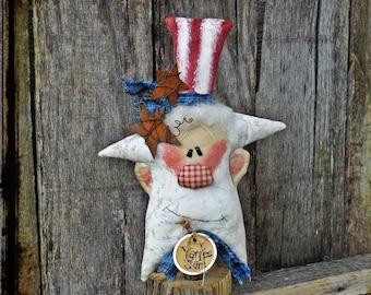 Primitive Uncle Sam Folk Art Rag Doll Patriotic Americana Summer Decor Independence Day 4th of July Red White Blue Shelf Sitter Gift