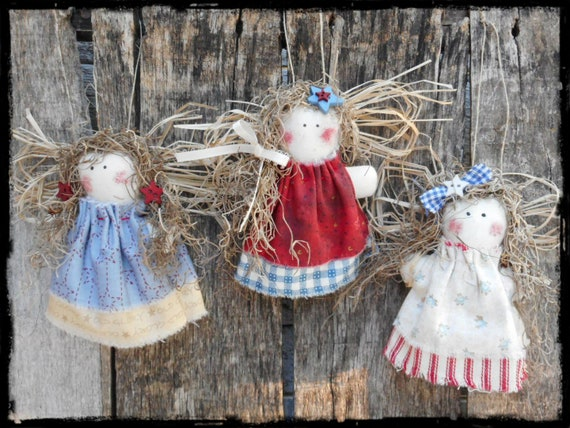 PATTERN PRIMITIVE RAGGEDY ANGEL ORNIE DOLL! GREAT YEAR ROUND!! QUICK AND EASY!