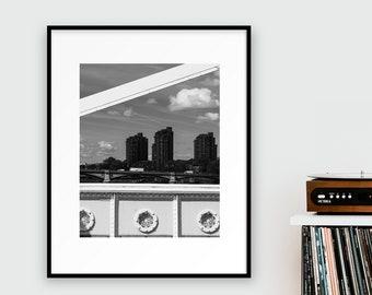 World's End Estate from Albert Bridge Print - London Photography - Black and White