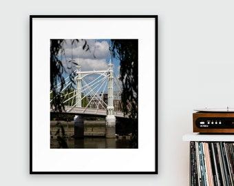 Albert Bridge Print - Battersea Park View, London Photography - Travel Wall Art - Bridges of London