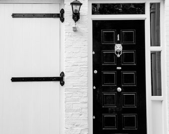 London Photography - Black and White Print - Door in Chelsea