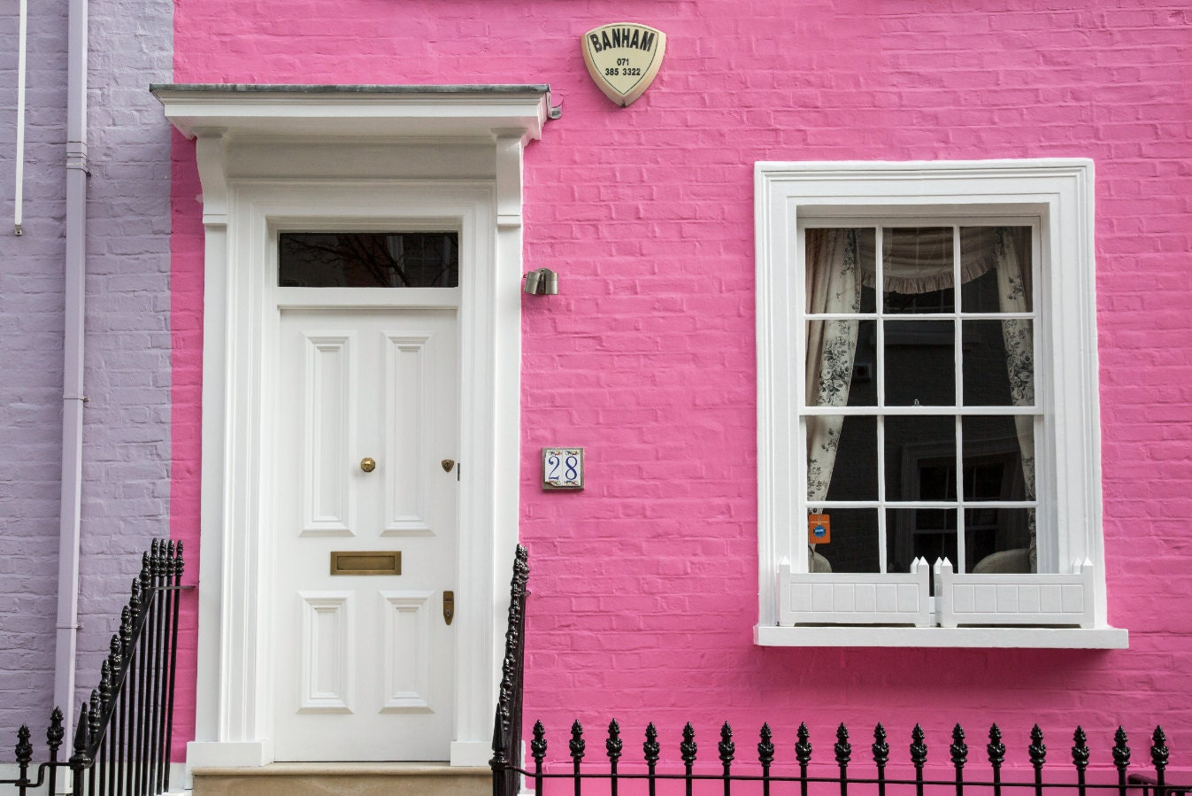 London Photography Colourful Houses Print Chelsea Pink | Etsy