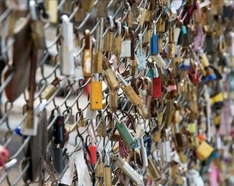 Love Lock Photography - London Print - Shoreditch Love Lock Fence