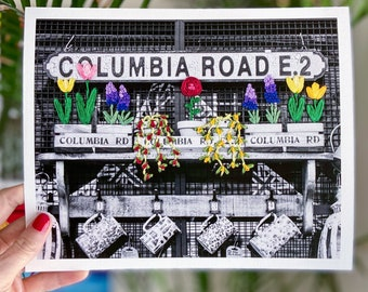 STITCHED PRINT - In Bloom, Columbia Road - Signed, Limited Edition Reproduction of Original Hand Embroidered Photograph - London