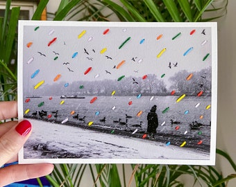 STITCHED PRINT - Snow Day - Signed, Limited Edition Reproduction of Original Hand Embroidered Photograph - Putney, London