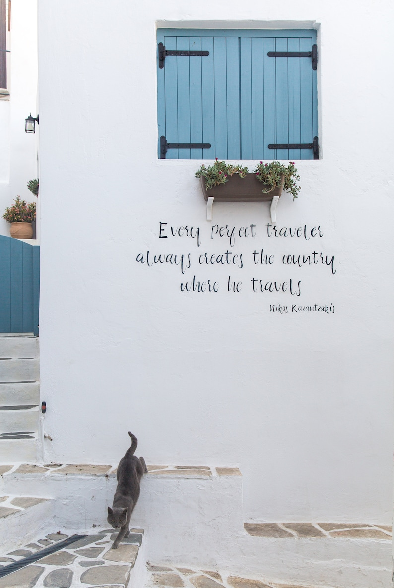 Quote Print  Greece  Travel Photography  Cat image 0