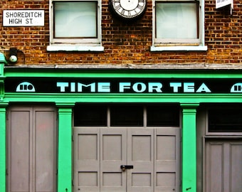 London Photography - Shoreditch Print - Time For Tea, Shop Front