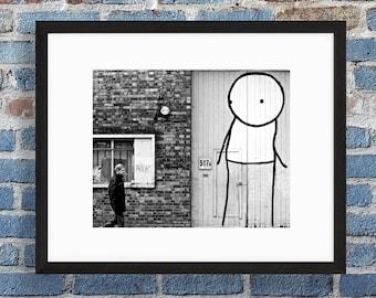 Stik Street Art Print - Black and White Photography - Shoreditch, London - Graffiti Art Photo