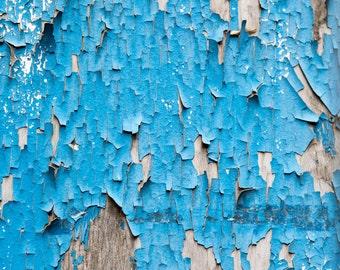 Texture Print - Peeling Blue Paint Photography - Eel Pie Island - London