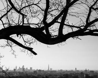 Parliament Hill Print - Black and White Photography - London Skyline - Hampstead Heath