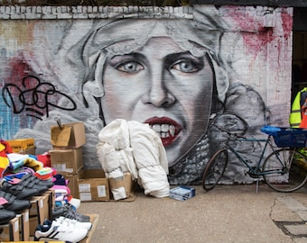 London Street Art Photography and Sclater Street Market - Shoreditch - Photography Print