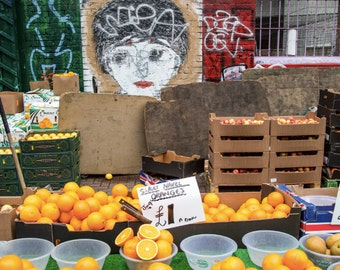 London Street Art and Oranges in a Shoreditch Market - Photography Print
