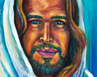 Jesus - Art Print - Artist Reproduction on Canvas Giclee of Jesus, The Son of God.